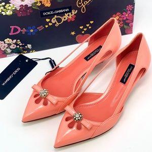 NIB DOLCE & GABBANA Pink Leather Heel Crystal Pump